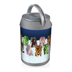 Picnic Time - Mini Can Cooler - Classic Cans - The Mini Can Cooler by Picnic Time is a hard-sided cooler and large beverage can replica that doubles as a lunch box. It holds six 12-oz. cans and has a 5 quart capacity. It features a snugly fitting, fully removable lid and folding handle. Perfect for the beach, patio, tailgating, parties, and sporting events.