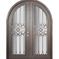 """Tivoli 72x96 Round Top Wrought Iron Double Door 14 Gauge Steel - """"SKU#PHBFTRTDR4BrandGlassCraftDoor TypeExteriorManufacturer CollectionBuffalo Forge Steel DoorsDoor ModelTivoliDoor MaterialSteelWoodgrainVeneerPrice8665Door Size Options  $Core Typeone-piece roll-formed 14 gauge steel doors are foam filled  Door StyleRound TopDoor Lite StyleRadius Lite , Full LiteDoor Panel StyleHome Style MatchingMediterranean , Victorian , Bay and Gable , Plantation , Cape Cod , Gulf Coast , ColonialDoor ConstructionPrehanging OptionsPrehungPrehung ConfigurationDouble DoorDoor Thickness (Inches)1.5Glass Thickness (Inches)Glass TypeDouble GlazedGlass CamingGlass FeaturesInsulated , TemperedGlass StyleGlass TextureClear , Glue Chip , RainGlass ObscurityDoor FeaturesDoor ApprovalsWind-load RatedDoor FinishesThree coat painting process"""