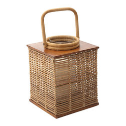 """Kouboo - Square Rattan Lantern, Large - Made by hand from rattan peel, this large rattan lantern is a beautiful accent for the home or outdoor tablescape. A rich honey finish makes this lantern an elegant addition to any room of the home, while a glass cylinder allows it to be used outdoors. Displays one 3""""x3"""" pillar candle for added romance and ambiance, and is perfect as an addition to intimate table settings or for embellishing tables or mantles."""