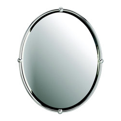 Kichler Mirrors - Chrome - Mirrors. Distinguished and appealing, the chrome finish of this oval, beveled mirror makes it favorable for most bathroom motifs. Width 24, height 30.
