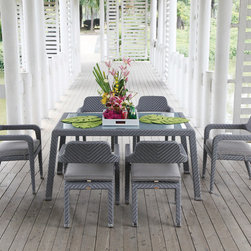 Custom Outdoor Dining Furniture - silver and grey ultra modern dining set perfect for hosting family and friends!