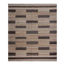"ALRUG - Handmade Beige Oriental Kilim  8' 2"" x 9' 8"" (ft) - This Afghan Kilim design rug is hand-knotted with Wool on Wool."