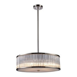 Elk Lighting Braxton Pendant Light - Polished Nickel - As fetching as it is functional, the Elk Lighting Braxton Pendant Light - Polished Nickel proclaims its quality through its upscale appeal and fine craftsmanship. The stylish drum pendant boasts ribbed glass cylinders with crystal-like optics that create a continuous beam of crisp light, while the beautiful Polished Nickel finish adds to its refined elegance. Designed to blend well with both traditional and contemporary settings, this transitional-style pendant light is available in your choice of size.Additional Information:Dimensions: 16 diam. x 7.5H inches; uses three 60-watt medium-base bulbs (not included)Dimensions: 24 diam. x 7.5H inches; uses five 60-watt medium-base bulbs (not included)About E.L.K. LightingIn 1983, Adolf Ebenstein, Jonathan Lesko, and Russell King combined their lighting expertise to form E.L.K. Lighting Inc. From the company's beginning in eastern Pennsylvania, it has become a worldwide leader featuring manufacturing facilities and showrooms in the U.S. and abroad. Award-winning designs and state-of-the-art engineering give their lighting outstanding quality and value and has made E.L.K. the choice of such renowned places as the Historic Royal Palaces of England and George Vanderbilt's Biltmore Estates. Whether a unique custom design or one of their designer lines, all products are supported by highly trained technical and customer service teams. A commitment to providing superior lighting products with unmatched customer satisfaction remains at the heart of the E.L.K. family tradition.Please note this product does not ship to Pennsylvania.