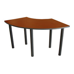 """Boss Chairs - Boss Chairs Boss 24 x 59 Training Table Crescent in Cherry - Thermally-infused, scratch resistant, melamine work surface with a grommet for wire management. 1"""" thick tops with 3mm PVC edging. When combined together or with rectangular tops, they afford the ability to configure numerous popular arrangements. Black powder coated steel legs sold separately in sets of 4. Legs can be configured to double as ganging brackets. Steel threaded inserts allow fast, solid assembly."""