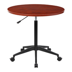 """Boss Chairs - Boss Chairs 32 Inch Mobile Round Table in Cherry - 32"""" Mobile round table. Pneumatic gas list height adjustment. Nylon base. Hooded double wheel casters."""