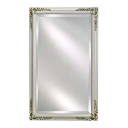 Afina - Estate Decorative Wall Mirror in Antique White Finish (Small) - Choose Size: Small. Rectangular shape. Beveled edge. Can be hung vertically or horizontally. 1 in. frame thickness. Clean with mild soap and water. Distinctive wood frame. Warranty: One year. Molding width: 1.25 in.. Small: 16 in. W x 22 in. H. Medium: 16 in. W x 26 in. H. Large: 20 in. W x 26 in. H. Extra large: 24 in. W x 30 in. H