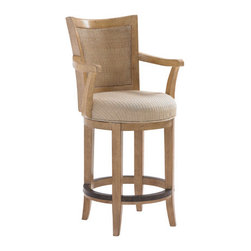 Lexington Home Brands - Carmel Swivel Counter Stool - The metal rim on the circular stretcher is both attractive and practical giving your feet a place to rest comfortably and leverage to swivel and engage in another conversation if so desired. Plus it protects the wood from scuffing shoes.