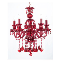 "The Gallery - RUBY RED CRYSTAL CHANDELIER LIGHTING H30"" x W24"" - RUBY RED CRYSTAL CHANDELIER. A Great European Tradition. Nothing is quite as elegant as the fine crystal chandeliers that gave sparkle to brilliant evenings at palaces and manor houses across Europe. This unique version from the Royal Collection features the NEW RUBY RED 100% crystal that capture and reflect the light of the candle bulbs, each resting in a scalloped bobache. The timeless elegance of this chandelier is sure to lend a special atmosphere in every home!Assembly Required."