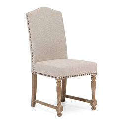 ZUO ERA - Richmond Chair Beige (set of 2) - Form and function times two. Solid and good-looking, these upholstered dining chairs are really comfortable as well.  Wrapped in beige or charcoal linen, each chair has a weathered finish and antiqued brass nailheads.