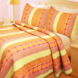 None - Summer Paradise 3-piece Quilt Set - Brighten up the look of your bedroom with this three-piece quilt set. The bold orange,yellow,and red colors will match well with many decors without being overwhelming. The set is made of cotton to ensure that it is soft and able to keep you warm.