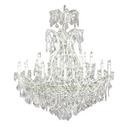 The Gallery - chandelier Crystalighting - Maria Theresa 100% crystal chandelier. A great European tradition. Nothing is quite as elegant as the fine crystal chandeliers that gave sparkle to brilliant evenings at palaces and manor houses across Europe. This two-tier version from the Maria Theresa collection is decorated with 100% crystal that captures and reflects the light of the candle bulbs, each resting in a scalloped bob ache. The timeless elegance of these chandeliers is sure to lend a special atmosphere in every home. Please note this item requires assembly.