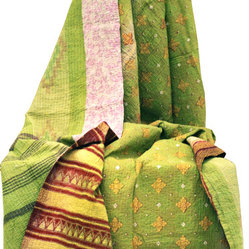 Modelli Creations - One of a Kind Vintage Sari Kantha Quilt - This vibrant and colorful vintage sari kantha throw instantly brightens and refreshes your space. Meticulously handcrafted by skilled artisans in India, each quilt is one of a kind and like no other. Drape it over a chair for a bold touch or use as a unique bed spread.