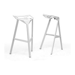 Baxton Studio - Kaysa White Aluminum Modern Bar Stools (Set of 2) - These white aluminum modern bar stools from Kaysa are sleek and industrial. They are perfect for indoor and outdoor use,and will look great in your home or business. These barstools have non-marking feet and white-coated aluminum frames.