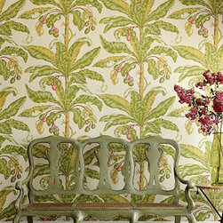 Blair House Palm Wallpaper, Tripical - If floral is more your style, this tropical print from Schumacher is right up your alley. Blair House Palm has a 36-inch vertical repeat for maximum impact, adding color and pattern in your space. It would look amazing in an entryway or guest room.
