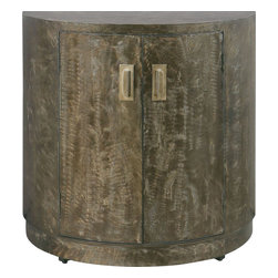 Uttermost - Cesano Console Cabinet - Brushed, Heavily Antiqued, Rustic Bronze Metal Over Curved Front Cabinet With Double Doors, Interior Shelf And Heavy, Metal Door Pulls. Matching Mirror Is Item #13814.