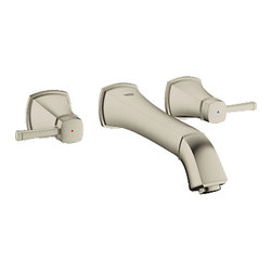 "Grohe - Grohe 20416EN0 Brushed Nickel Grandera Series Two Handle Wall Mount Lav Faucet - Grohe Grandera three hole bath faucet 20416 EN0. This wall-mounted bath faucet features a 3-hole installation, two lever-handles for precise volume and temperature control, and a 9-1/4"" spout length. This model comes in a beautiful, Brushed Nickel finish."