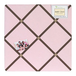 Sweet Jojo Designs - Soho Pink Fabric Memo Board - The Soho Pink Fabric Memo Board with button detail is a great way to display photos, notes, and postcards on your child's wall. Just slip your mementos behind the grosgrain ribbon to create an engaging piece of original wall art. This adorable memo board by Sweet Jojo Designs is the perfect accessory for the matching children's bedding set.
