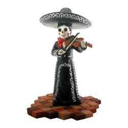 Summit - Skeleton Skull Black Mariachi Band Violin Statue Figurine Collectible - This gorgeous Skeleton Skull Black Mariachi Band Violin Statue Figurine Collectible has the finest details and highest quality you will find anywhere! Skeleton Skull Black Mariachi Band Violin Statue Figurine Collectible is truly remarkable.