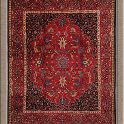 "Persian Rugs, Oriental Rugs - Old Persian Mashad rug signed by the master weaver ""Saber"" in perfect condition."