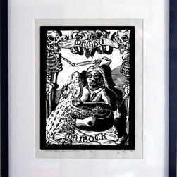 Mambo Maibock (Original) by John Beckmann - This is a woodcut of a beer recipe called Mambo Maibock. Printed on Mulberry eastern paper with daniel smith black ink. This print comes with the frame ready to hang. Special Vango edition of 25 prints.