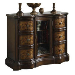 "Coaster - Accent Cabinet (Rich Brown) By Coaster - DESCRIPTION: This large scale cabinet features 6 storage drawers and curved glass cabinet door, with shelving. Antique brass finished hardware complete the look. DIMENSIONS: Cabinet: 18.00"" Width x 45.00"" Depth x 34.25"" Height"