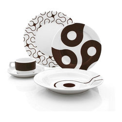 Brown Links 20-piece Dinner Set - This beautiful Chocolate Brown Links 20-Piece Dinnerware Set presented by Cool Stuff for the Kitchen includes four (4) dinner plates, four (4) small plates, four (4) rim bowls, four (4) cups and four (4) saucers.  Based on a link of a bicycle chain, this interesting design will be the talk of your dinner party.