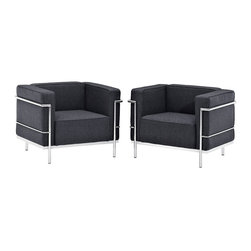 Charles Grande Armchair Set of 2 - Urban life has always a quandary for designers. While the torrent of external stimuli surrounds, the designer is vested with the task of introducing calm to the scene. From out of the surging wave of progress, the most talented can fashion a force field of tranquility.