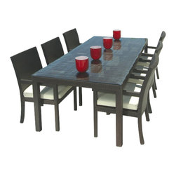MangoHome - Outdoor Wicker Patio Furniture New Resin 7 Pc Dining Table Set with 6 Chairs - Outdoor Wicker Patio Furniture New Resin 7 Pc Dining Table Set with 6 Chairs