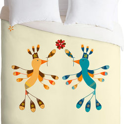 DENY Designs - DENY Designs Gabriela Larios Tortolitas Couple Duvet Cover - Birds and fishes. Forty winks look fabulous with the Gabriela Larios Tortolitas Couple Duvet Cover from DENY Designs. A punchy print makes this artist-designed piece pop, and each one is custom-created using a six-color printing technique that directly dyes the buttery-soft woven front. A cozy cotton-blend on the backside was created for cuddling. Talk about beauty rest! Pillowcases not includedAvailable in multiple sizesZip closureInterior corner tiesCustom printed for every orderWoven polyester front / cotton-polyester backMachine washableDesigned by Gabriela LariosMade in the USAShips in 1 week