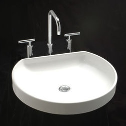 Shop modern shallow oval shaped vessel bathroom sink by caracalla bath products on houzz - Shallow vessel sink ...