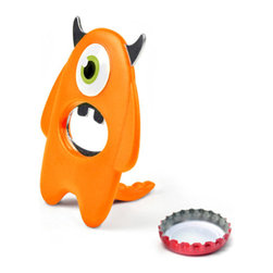 Fred & Friends - BEER Monster Bottle Opener - With his menacing single eyeball, chrome plated buck teeth, and handy dino tail, our grotesquely grip-able, fearfully functional Beer Monster is your perfect drinking buddy. He's clipped to a full-color card that pegs from a hook or stands right up on your shelf or counter.