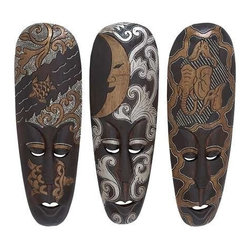 "Benzara - African Mask Designed with Turtles 3 Assorted - African Mask Designed with Turtles 3 Assorted. Fill your house with a positive vibe with this 20"" H wood African Mask designed with Turtles 3 Assorted. It comes with following dimensions 13"" W x 7"" D x 16"" H."