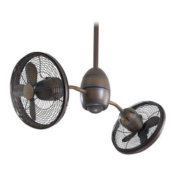 "Minka Aire - Minka Aire F302-RRB Gyrette Restoration Bronze Dual 36"" Ceiling Fan + Remote - Features:"
