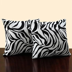 HomeHills - 18-Inch Square Zebra Print Throw Pillows, Set of Two - -Modern and comfortable, this throw pillow set is an ideal accessory to any sofa or bed  -These pillows showcase a geometric print on shades of blue, black, grey and pale silver  -Set includes: Two throw pillows  -Color: Black/white  -Edging: Knife edge  -Pillow shape: Square  -Dimensions: 18 inches wide x 18 inches long  -Cover: 100-percent polyester  -Fill: 100-percent polyester  -Care instructions: Spot clean  -Dimensions: 18 x 18 x 3.5 HomeHills - 22468F6P[2PC]