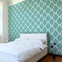 French Garden Damask Teal Wallpaper Tiles - Two Sheets (Each measures 50'' x 25'')