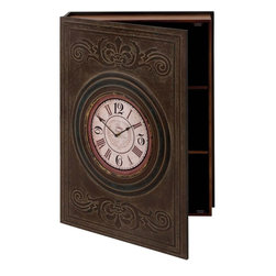 Benzara - Wood Wall Box Clock with Clean Lines and Elegant Pattern - High on utility and elegance, this clock comes in handy in your kitchen, and helps in storing the essentials within the multipurpose cabinet. When fixed on the wall of living room or near the hallway, this decorative piece not only adds beauty to the existing decor but also is more functional and helps in keeping important letters and documents. Innovatively designed, this wonderful accent clock comes with a wooden compartment behind the door, on which the clock is inset. The circular clock comes with a white dial that displays delicately designed minute and hour hands. The bold numerals are visually bright and appealing in dark black color. Embellished with engravings of clean lines and elegant pattern, this clock looks unique and glamorous. The brown colored finish further enhances the rustic feel of the clock. A fusion of artistry and creativity endows this wood wall box clock with great beauty.