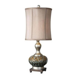Global Direct - Brown Ceramic Table Lamps: 28 in. Rustic Brown Buffet Lamp 29298-1 - Shop for Lighting & Fans at The Home Depot. This table lamp features a multi-colored ceramic base. It has a textured rustic brown, smoke blue and black glazed finish accented with antiqued silver details and a dark bronze foot. The round modified drum shade is a silken champagne linen fabric.