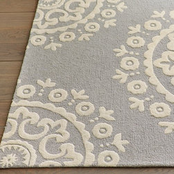 McKenna Rug - Oversized medallions give this plush rug its eye-catching style, and a mix of cut and looped wool makes it extra plush underfoot.