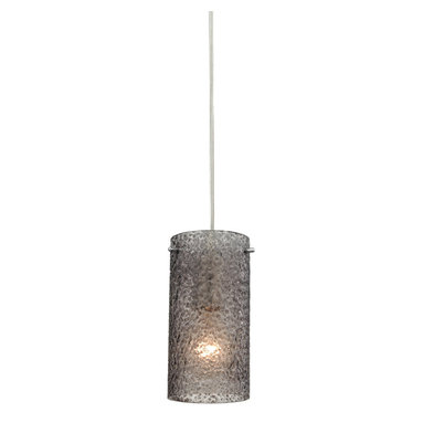 """Elk Lighting - Ice Fragments Single Light Patterned Glass Pendant Fixture, Smoked Glass - The Ice Fragments cylindrical pendant light that visually pleases with a patterned glass. This cylindrical hanging ceiling light is offered in three colors of glass: clear, smoke and aqua. Each shade boasts a crackled pattern, akin to that of ice fragments, that takes advantage of the incandescent illumination it houses. This contemporary mini pendant is secured to the ceiling with a metal canopy finished in a sleek satin nickel, as is the remainder of the light's metal work. It is suspended by clear cord, of which six feet is included for a hanging height up to 82"""" at your discretion."""