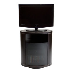 BDI - Revo Rotating TV Stand - Do you rearrange the furniture on movie night? This rotating TV stand and media cabinet lets you position your TV so everyone gets a perfect view. It holds your 37-inch flat panel TV and, even when you get a bit hot under the collar over your teams play, the glass front and flow through ventilation keeps your components cool.