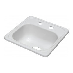 "Lyons - Lyons Deluxe DBAR01-3.5 Acrylic Kitchen Sink - Lyons Industries Single Bowl white acrylic bar sink 6.5"" deep with two faucet holes on 4"" centers and a 3.5"" drain opening. This standard self rimming 15""X15"" sink is easy to install as a remodel or new construction project. This sturdy sink has durable easy to clean high gloss acrylic construction with a fiberglass reinforced insulation backer. This sink is quiet and provides a superior heat retention than other sink materials meaning your water stays warm longer. Lyons sinks come with a simple mounting tab and clip system to firmly fasten the sink to the countertop and reinforced drain areas for safely supporting a garbage disposal. Detailed installation instructions include the cut-out specifications. Lyons sinks are proudly Made in America by experienced artisans supporting our economy."