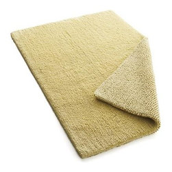 Traverse Reversible Yellow Bath Rug - Soft, absorbent pile lays out a plush welcome mat to excess water. Cotton rug reverses to same.