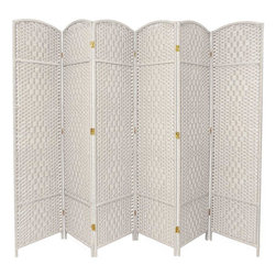 Oriental Furniture - 7 ft. Tall Diamond Weave Room Divider - White - 6 Panels - A lightweight but sturdy screen, extra tall and wide for larger space needs. Each panel consists of plant fiber woven in a diamond pattern over durable, kiln-dried wooden frames. The screen sports an open weave design, allowing some light and air to pass through. Use it as a decorative background or functional divider in your living room, study or place of business.