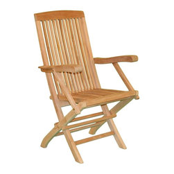 Jewels of Java - Fan Folding Chair w Arms in Teak - Mortise and tenon construction. Plantation grown teak. Warranty: Three years. Made from solid teak. 22 in. W x 18 in. D x 24 in. HJewels of java's Fan Folding Arm Chair is perfect for casual dining or in any casual setting. Made out of high grade solid teak wood, this dining chair will bring you endless hours of hassle free relaxation and casual dining enjoyment. Teak is the natural and environmentally friendly choice for outdoor furniture, and all of our teak is plantation grown and replanted when harvested. No maintenance is needed for teak wood; it will withstand whatever Mother Nature throws at it while maintaining an elegant and stylish appearance.
