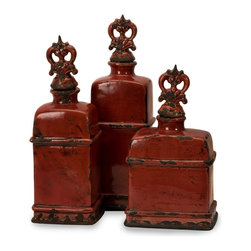 iMax - iMax Garnet Bottles with Finials - Set of 3 X-3-73105 - Love, devotion, passion and courage are feelings associated with the rich, deep color of garnet. Ignite those feelings within your home with this set of three lidded bottles with a rustic, Italian inspiration.