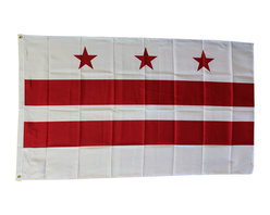 Flagline - Washington, DC (district of columbia) - 3'X5' Polyester Flag - Made of a high quality polyester material, our Dura-Poly  Washington, DC flag measures 3' x 5' and includes vivid colors and an accurate design. Screen-printed on a durable 150 denier shiny polyester material and finished with a double stitched hem, this flag features a white fabric header with two brass grommets on the 3' side for easy display. The flag is best used indoors but can withstand occasional outdoor use. The authentic design is based on information from official sources.