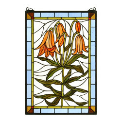 Meyda Tiffany - Meyda Tiffany Tiffany Windows Window Sill Tiffany Window Art in Copperfoil - Shown in picture: Trumpet Lily Stained Glass Window; Gracefully Trumpet Lilies With Bronzed Green Leaves Bow Their Dark Orange Heads Against A Clear Blue Sky. This Meyda Tiffany Original Window Is Handcrafted Utilizing The Copperfoil Construction Process And 219 Pieces Of Stained Art Glass Encased In A Solid Brass Frame. Mounting Bracket And Jack Chain Included.