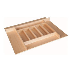 """Century Components - Century Components TTKF14PF Wood Silverware Tray Drawer Organizer, 26-3/4"""" X 22"""" - Silverware Tray Organizer - 26-3/4""""W x 22""""D x 2-3/8""""H. This unit is designed to be trimmable to desired width and depth to fit the drawer size and design in your kitchen. Made from solid maple wood with a clear natural finish for great appearance, quality and durability. This Century Components TTKF26PF silverware tray features wide step downs and extra storage compartments."""