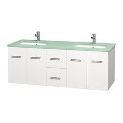 """Wyndham Collection - Centra 60"""" White Double Vanity, Green Glass Countertop, Undermount Square Sinks - Simplicity and elegance combine in the perfect lines of the Centra vanity by the Wyndham Collection. If cutting-edge contemporary design is your style then the Centra vanity is for you - modern, chic and built to last a lifetime. Available with green glass, pure white man-made stone, ivory marble or white carrera marble counters, with stunning vessel or undermount sink(s) and matching mirror(s). Featuring soft close door hinges, drawer glides, and meticulously finished with brushed chrome hardware. The attention to detail on this beautiful vanity is second to none."""