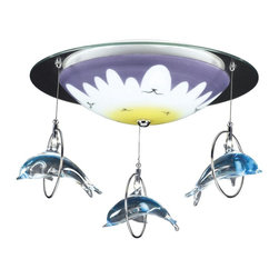 "Elk - Kids Dolphin Splash 16"" Wide Ceiling Light Fixture - A light fixture that's hoops of fun this piece features three leaping dolphins and a multi-color light glass. Satin nickel hoops and accents. Takes two 60 watt bulbs (not included). 16"" wide. 10"" high.  Satin nickel finish accents.   Takes two 60 watt bulbs (not included).   16"" wide.  10"" high."